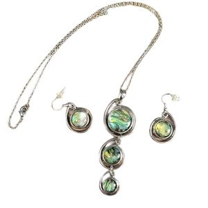 Green Abalone Silver Tone necklace & earrings